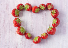Strawberries in a shape of a heart Royalty Free Stock Image