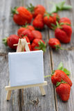 Strawberries with shield Stock Photography