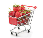 Strawberries in Shopping Cart. Isolated on White Background Stock Photo