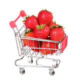 Strawberries in shopping cart isolated. concept. Stock Photography