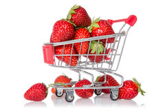 Strawberries in shopping cart Stock Image