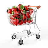 Strawberries in a shopping cart Royalty Free Stock Image