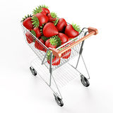 Strawberries in a shopping cart Royalty Free Stock Photos