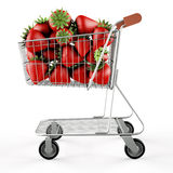 Strawberries in a shopping cart Royalty Free Stock Images