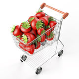 Strawberries in a shopping cart Stock Photo