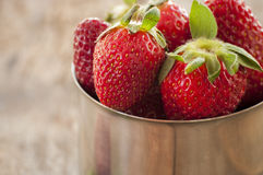 Strawberries in silver cup Royalty Free Stock Photo