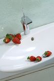 Strawberries on sink. Sink with running water lined with  strawberries Stock Photos