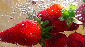 Strawberries sink to water, slow motion video stock footage