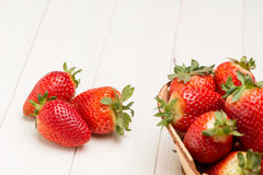 Strawberries in a small basket Stock Image