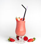 Strawberries smoothie with two straws Stock Photography