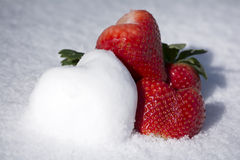 Strawberries and Snow Hearts Shape on White Snow Background. Lovely strawberries and snow heart shape on white snow background Royalty Free Stock Image