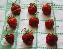 Strawberries. Some fresh strawberries on a desk Royalty Free Stock Photos