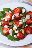 Strawberries, spinach, goat cheese and almond top view Stock Image