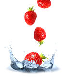 Strawberries splash royalty free illustration
