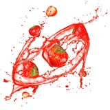 Strawberries in splash Stock Image