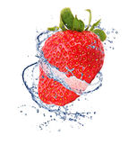 Strawberries in splash Royalty Free Stock Photos