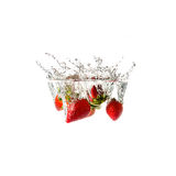 Strawberries splash on water, isolated Royalty Free Stock Photos