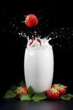 Strawberries splashing into milk. Isolated on a black background stock photography