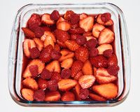Strawberries and raspberries stock photography