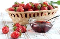 Strawberries and strawberry jam. Tasty dessert Royalty Free Stock Photo