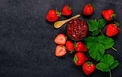 Strawberries and Strawberry Jam with Copy Space Royalty Free Stock Photography