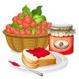 Strawberries, strawberry jam and a sandwich Royalty Free Stock Images