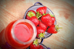 Strawberries and strawberry smoothie - juice Royalty Free Stock Photo