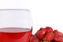 Strawberries and strawberry wine Stock Photos