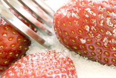 Strawberries with Sugar. A fork in a pile of sugar and strawberries, close-up Royalty Free Stock Photo