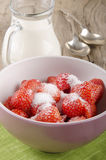 Strawberries with sugar in a bowl Royalty Free Stock Image
