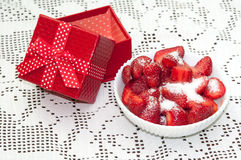 STRAWBERRIES SUGAR BOWL RED GIFT BOX Stock Photo