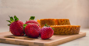 Strawberries in a table wood Stock Photo