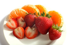 Strawberries and tangerines horizontal Royalty Free Stock Photo