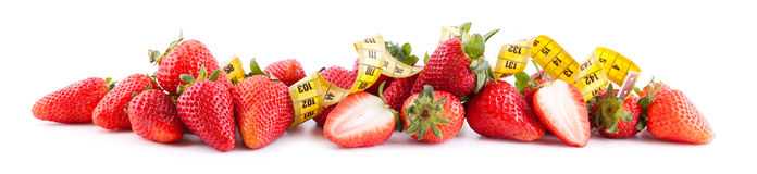 Strawberries with tape in panoramic Stock Image