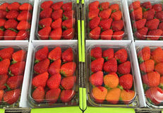Strawberries in transparent boxes for sale Stock Photo