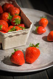 Strawberries on the tray Royalty Free Stock Image