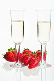 Strawberries and two sparkling glass Royalty Free Stock Photography