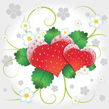 Strawberries vector hearts with swirl. Juicy delicious vector strawberries hearts with flowers Royalty Free Stock Images
