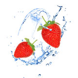 Strawberries with water splash Royalty Free Stock Image