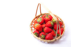 Strawberries were served in a basket Stock Photos