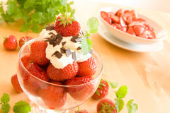 Strawberries and whipped cream Royalty Free Stock Image