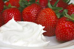 Strawberries and Whipped Cream Royalty Free Stock Photo