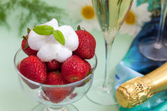 Strawberries with whipped cream Stock Photo