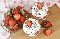 Strawberries and whipped cream Stock Photo