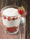 Strawberries with whipped cream  . Stock Image