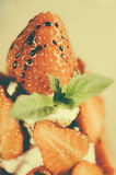 Strawberries with whipped cream - Soft focus - Retro look Royalty Free Stock Photos