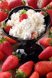 Strawberries whit cream Stock Photos