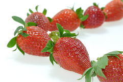 Strawberries on white Stock Photos