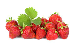 Strawberries on white background. Ripe strawberries on white background stock photography