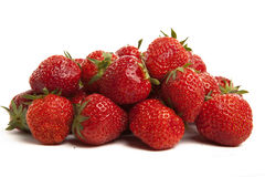 Strawberries on White Background. Pile of Red Strawberries on White Isolated Background Stock Photos